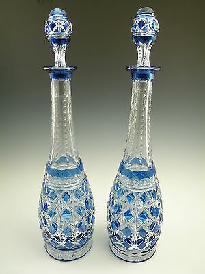 VAL St LAMBERT Crystal - Stunning Cut-to-Clear DECANTER Pair - 17""
