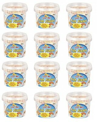 12 x Feed Me Fish Food Flakes For All Cold Water Pond & Tank Fish 50g Per Tub