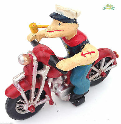 Cast Iron Popeye the Sailor Man on Red Motorcyle - Ornament like Harley Davidson