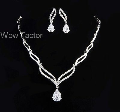 Rhinestone CZ Crystal Diamante Silver Tone Wedding Bridal Costume Jewellery Set