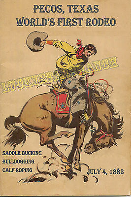 Pecos, TX World First Rodeo Cowboy Cowgirl Vintage Rodeo Posters