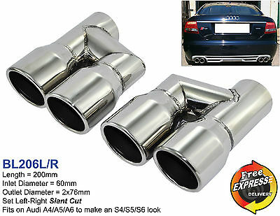 """Exhaust tips 3"""" quad tailpipe trims 76mm for Audi A4 A5 A6 A7 A8 S4 S5 S6 S7 S8"""