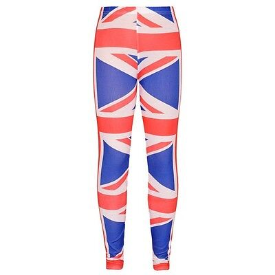 Girls Kids Union Jack British Team GB Leggings Blue Red Age 7 8 9 10 11 12 13