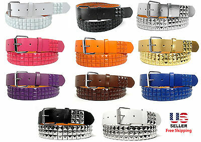 COLORS METAL STUDS BONDED LEATHER BELT w REMOVABLE BUCKLE MANY COLORS - S M L XL