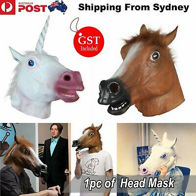 Unicorn Horse Head Mask Female Latex Prop Animal Cosplay Costume Party Halloween