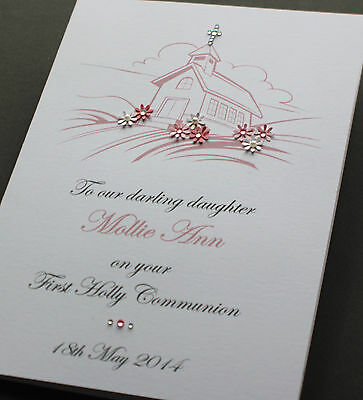 A5 Personalised Handmade FIRST COMMUNION, CHRISTENING Card GIRL or BOY (in blue)