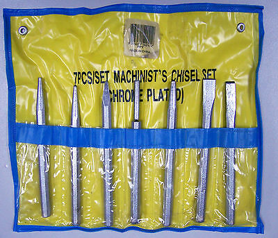 7pc Machinist Chisel and Punch Set Chrome Plated **New**