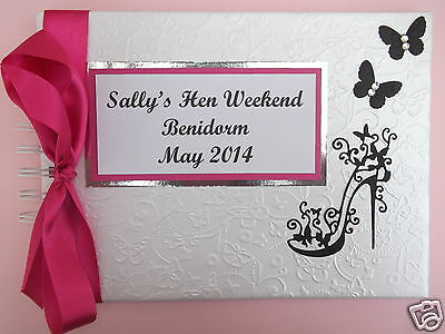 Hen Night / Party Guest Book Personalised In Box Sexy High Heel Glam Design