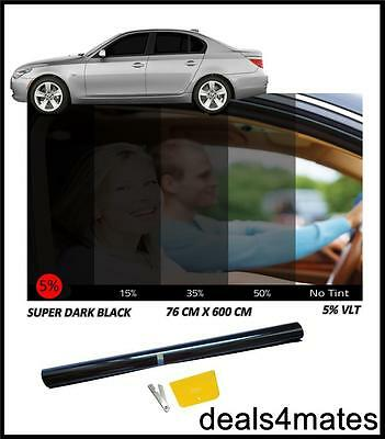 CAR VAN BUS WINDOW TINT FILM TINTING LIMO SUPER DARK BLACK  5% 76cm x 6M NEW