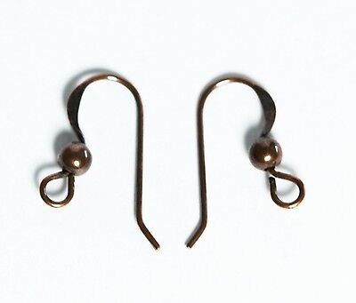 Antique Copper French Ear Wire 16 Mm With / 3 Mm Bead 50 Pcs.solid Copper Usa