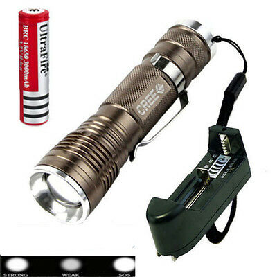 Zoomable 1600 Lumen CREE XM-L Q5 LED Flashlight Torch Lamp Light +18650&Charger