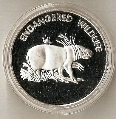 Malawi 10 Kwacha 2005 Endangered Wildlife - Pigmy Hippo - Heavy Plated Coin