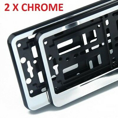 "2 x ""CHROME"" EFFECT NUMBER PLATE HOLDER SURROUND CAR"