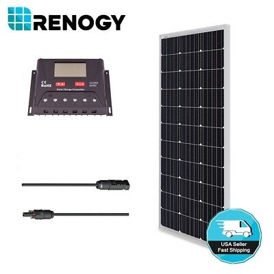 Renogy 100W 100 Watt 12V Mono Solar Panel Bundle Kit Off Grid for RV Boat