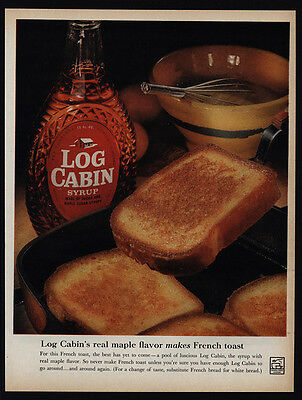 1961 LOG CABIN Real Maple Syrup - French Toast - VINTAGE AD