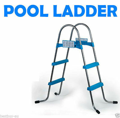 Brand NEW 3 Step Swimming Pool Ladder Above Ground Plastic Steps Pools Iron Tube