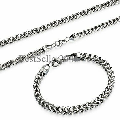 """B/&H Great 3//4//5//6MM 20/"""" MENS Silver Stainless Steel Wheat Braided Chain Necklace"""