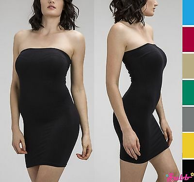Women Solid Strapless Seamless Long Tube Top Slim Fit Mini Bodycon Tube Dress