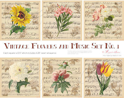 Vintage Flowers & Music Fabric Panel / Patch / Block Set Of 6 Digitally Printed
