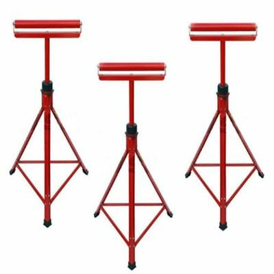 "3 X Metal Roller Stands Rest Woodworking 27"" -47"" Adjustable Sturdy Wood   0902"