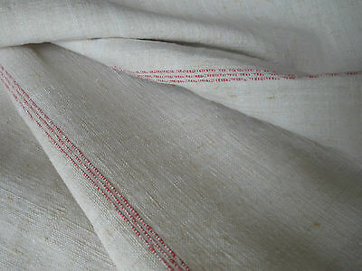 ANTIQUE FRENCH Pure LINEN TOWEL-Red Sripes-Red Monogram SB
