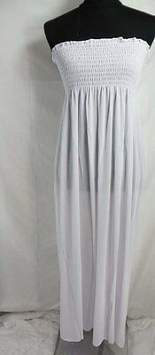 US SELLER-wholesale clothing 10 Strapless tube top solid plain white maxi dress