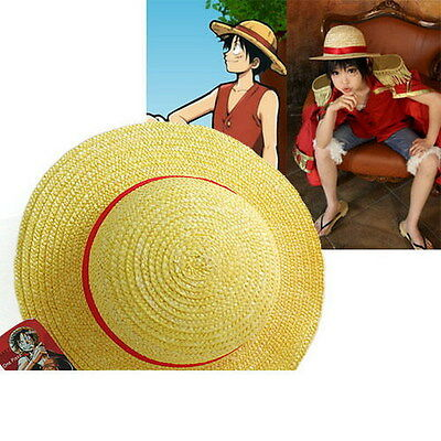 One Piece Luffy Anime Cosplay Straw Boater Beach Hat Cap Halloween S