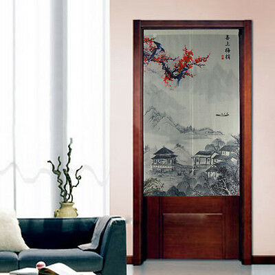 Fabric Japanese Doorway Curtain Noren Chinese Painting Curtain Wintersweet D3077