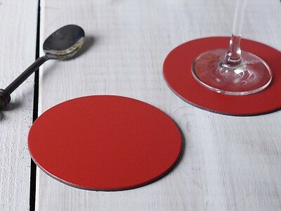 Set of 6 RED ROUND Leatherboard COASTERS