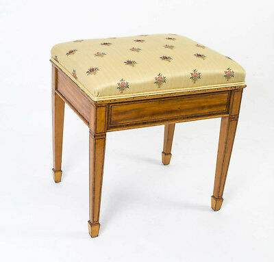 Antique Edwardian Inlaid Satinwood Stool c.1910