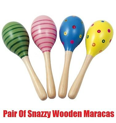 18cm Snazzy WOODEN MARACAS Rumba Shaker Rattle Baby Kids Musical Toy Gift PAIR