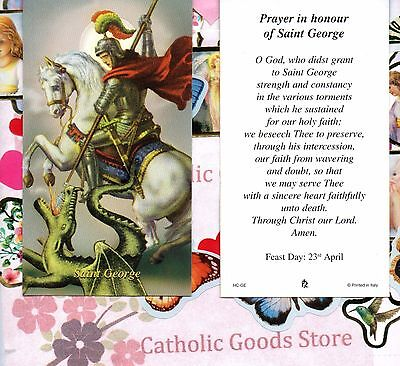 St George with Prayer in Honour of St George  - Paperstock Holy Card