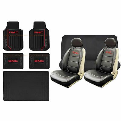 11pc GMC Elite Black & Red Seat Covers & Rubber Floor Mats S-Cargo Set Universal