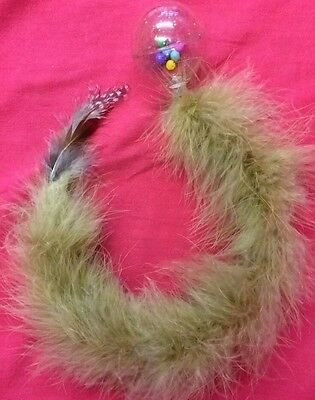 Cat Kitten Toy Rattle Feather 18 Inch Teaser