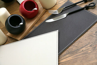 Set of 4 BROWN/CREAM Faux Leather REVERSIBLE PLACEMATS Table Mats CREATIVE TOPS