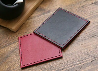 Set of 4 BLACK/RED Faux Leather REVERSIBLE STITCHED COASTERS Drink Mats