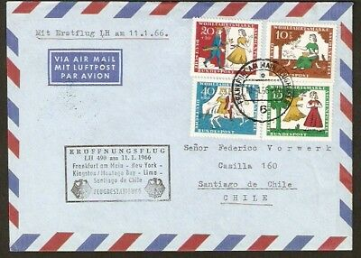 116 GERMANY TO CHILE FFC FIRST FLIGHT COVER 1966 LUFTHANSA FRANKFURT - SANTIAGO