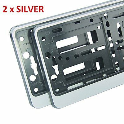 """2 x """"SILVER"""" EFFECT NUMBER PLATE HOLDER SURROUND CAR - ABS PC Plastic"""