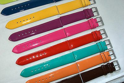 Patent Gloss Italian Leather Watch Strap 10-22mm free spring bars & remover tool