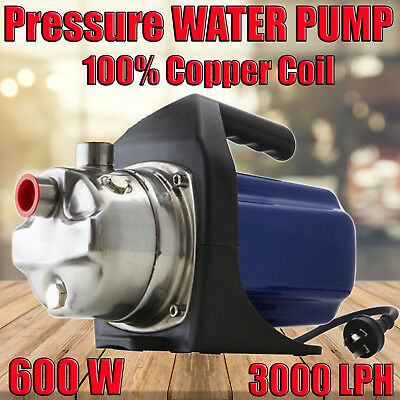 NEW 600W Water Pump Stainless Steel High Pressure Jet  Garden Tank Swimming Pool