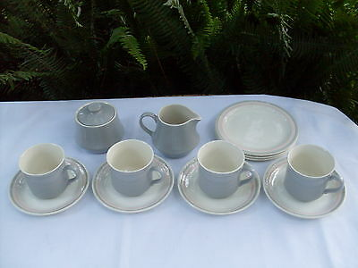 RARE Vintage CROWN LYNN New Zealand d713 GREY Tea Set VG Collectable- In Aust
