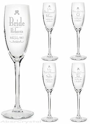 Personalised Champagne Flute Engraved Glass Wedding Gift Favour Toasting Glasses