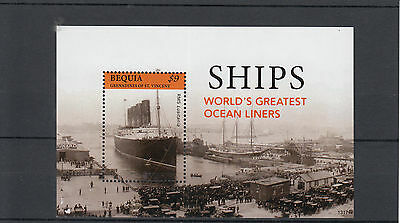 Bequia Grenadines St Vincent 2013 MNH Ships Worlds Ocean Liners 1v S/S Lusitania