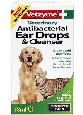 Vetzyme Veterinary Antibacterial Ear Drops & Cleanser - Improved Formula Dog Cat