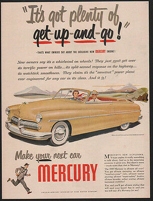 1948 Yellow MERCURY Convertible Car - Its Got Plenty Of Get Up and Go VINTAGE AD