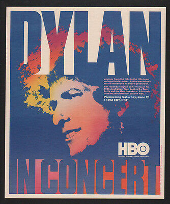 1986 BOB DYLAN in Concert - Like a Rolling Stone - Hurricane - Art -  VINTAGE AD