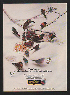 1985 JOHNNIE WALKER Black Label Scotch - Birds Fine Feathered Friends VINTAGE AD