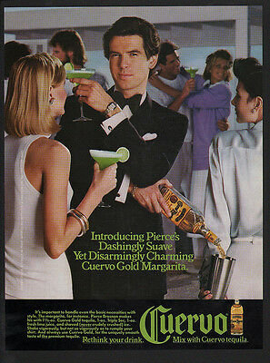 1986 PIERCE BROSNAN - CUERVO Tequila - JAMES BOND - 007 -  VINTAGE AD