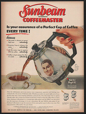 1950 SUNBEAM Automatic COFFEEMASTER -Perfect Cup of Coffee Every Time VINTAGE AD