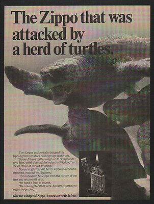 1969 ZIPPO Lighters - Zippo That Was Attacked By a Herd of Turtles -  VINTAGE AD